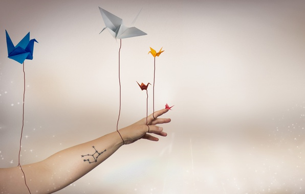 Photo wallpaper cranes, background, hand