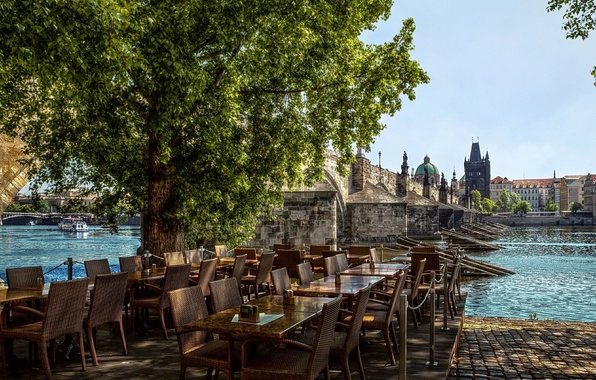 Picture The city, Cafe, River, Prague, Czech Republic, Street, Building, Street, Prague, River, Town, Kafe