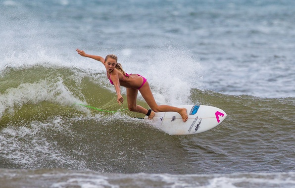 Picture the ocean, sport, wave, surfing, surfing, girl.Board