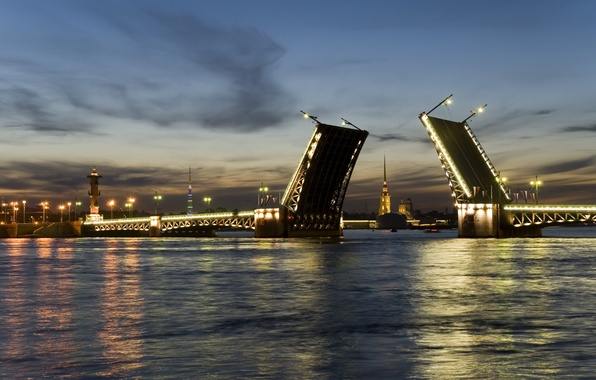 Picture night, bridge, the city, Peter, Saint Petersburg, lantern, Russia, bridges, Russia, Yandex Disk, peterburg, Yandex