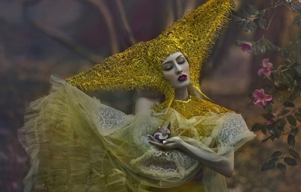 Picture forest, girl, flowers, fantasy, makeup, art, Agnieszka Lorek, Ryo Love