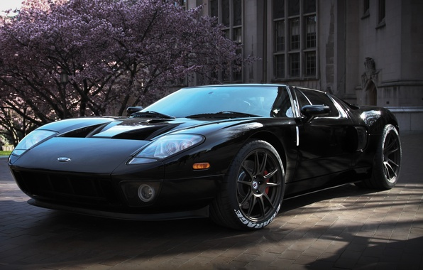 Picture tree, black, the building, wheels, ford, black, Ford