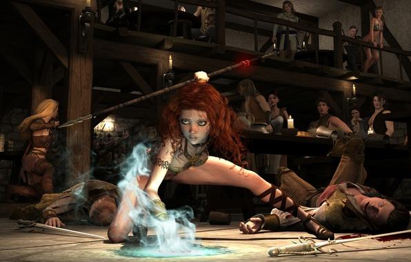Picture girl, magic, elf, battle, MAG, tavern, arne, 3D art