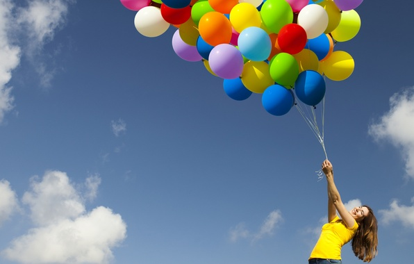 Picture the sky, girl, clouds, joy, balloons, positive