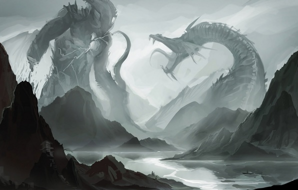 Picture mountains, river, boat, monster, mouth, fangs, battle, fight, sakimichan