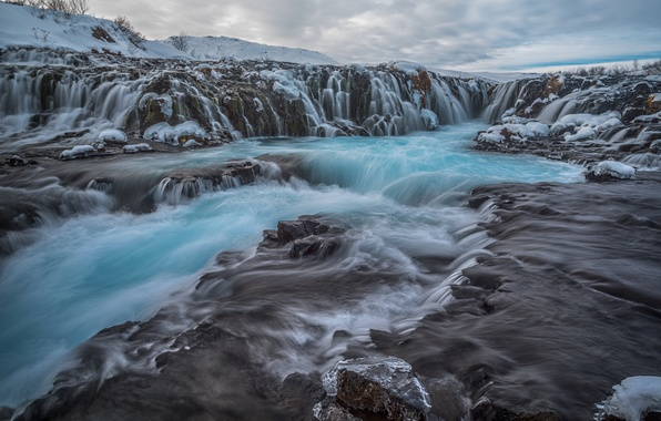 Picture clouds, landscape, nature, stones, rocks, waterfall, stream, Iceland, Iceland