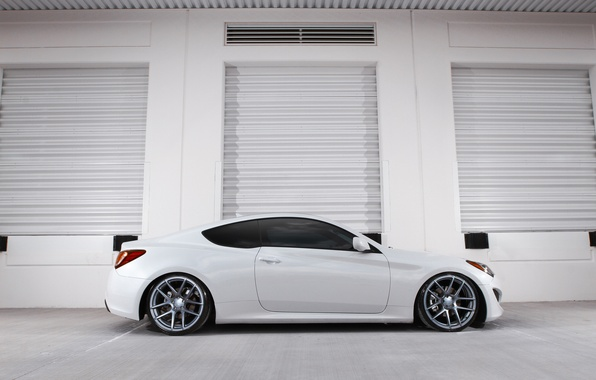 Picture white, coupe, profile, white, hyundai, Hyundai, genesis, Genesis