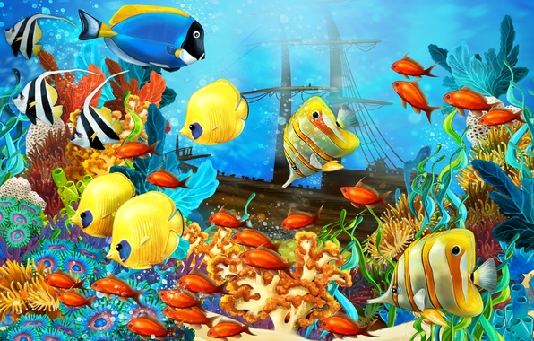 Picture fish, ship, sailboat, corals, the bottom of the sea