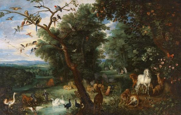 Photo wallpaper picture, mythology, Jan Brueghel the elder, Adam and eve in the Garden of Eden