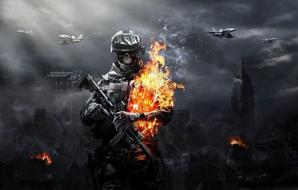 Picture fire, soldiers, zombies, Battlefield 3 zombies