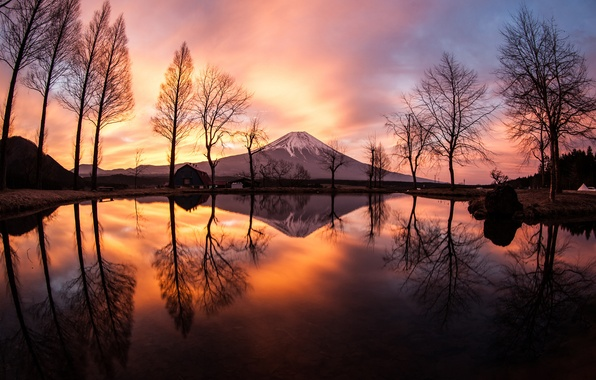 Picture mountain, spring, the evening, Japan, Fuji, March, stratovolcano, Mount Fuji, the island of Honshu