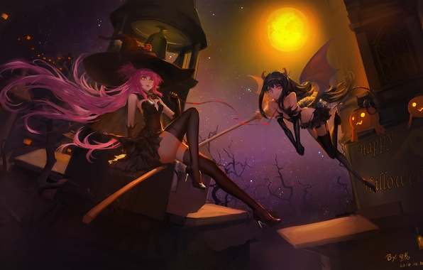 Picture look, flight, night, smile, girls, holiday, magic, wings, the demon, collar, witch, broom, Halloween, art, …