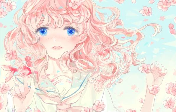 Picture girl, flowers, fish, anime, Sakura, art, kyang692