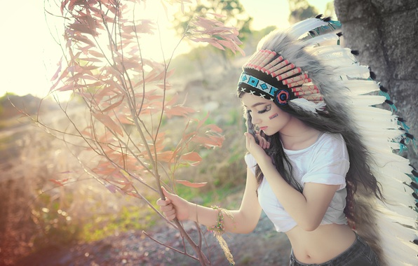 Picture summer, girl, nature, face, style, feathers, coloring, headdress