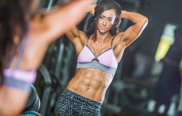 Picture sexy, model, reflection, mirror, workout, fitness, abs, bodybuilder, weight bar