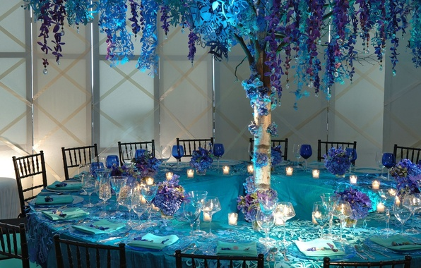 Picture flowers, glasses, dishes, restaurant, table, lilac, Cutlery, blue color