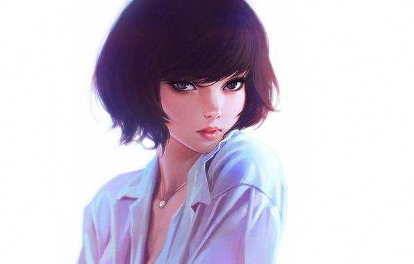 Wallpaper Eyes, Look, Girl, Figure, Anime, Necklace, Art