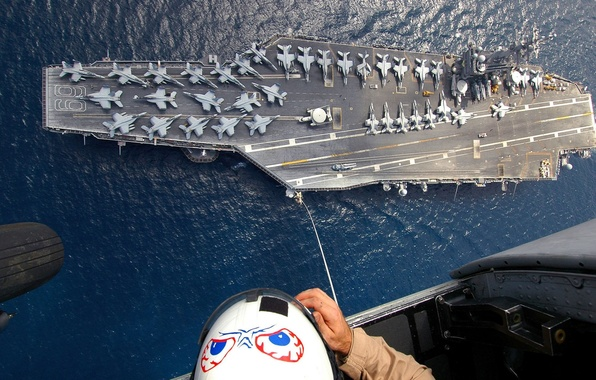 Picture people, the ocean, figure, people, aircraft, helicopter, helmet, the carrier, cabin, the cable, chassis, bombers, …