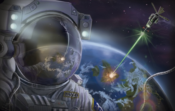 Picture space, earth, planet, satellite, ray, the suit, art, astronaut