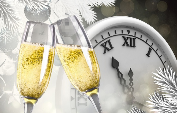 Picture branches, glare, holiday, wine, balls, watch, vector, glasses, New year, champagne, midnight