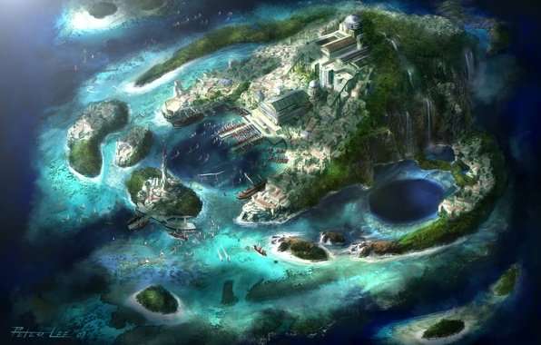 Picture Islands, the city, lighthouse, boats, waterfalls, Bay, harbour, Diablo 3 art, Peter Lee