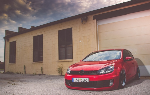 Picture Volkswagen, red, golf, gti, bbs, mk6