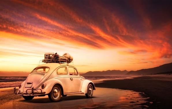 Picture machine, beach, Volkswagen