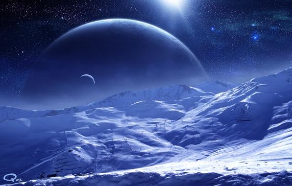 Picture space, stars, surface, snow, planet, satellite, art, QAuZ
