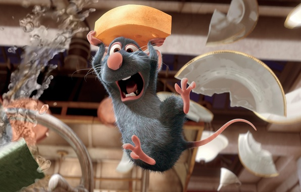 Picture cartoon, Ratatouille, mouse, broken plates