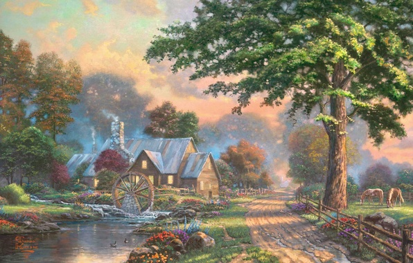 Picture summer, house, river, stream, horse, wheel, village, painting, painting, Thomas Kinkade, Kinkade, Simpler Times, water …