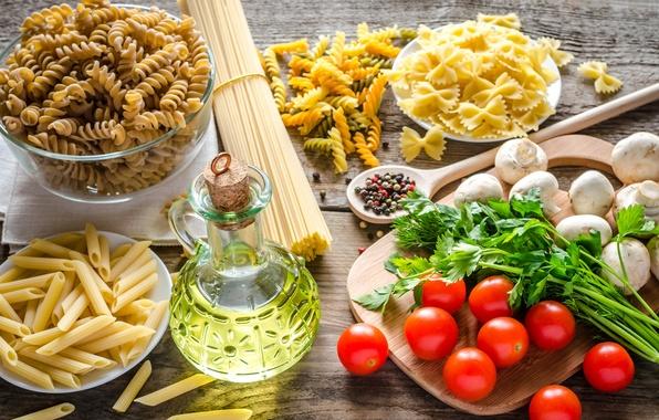 Picture greens, table, mushrooms, oil, pepper, blade, mushrooms, decanter, pasta