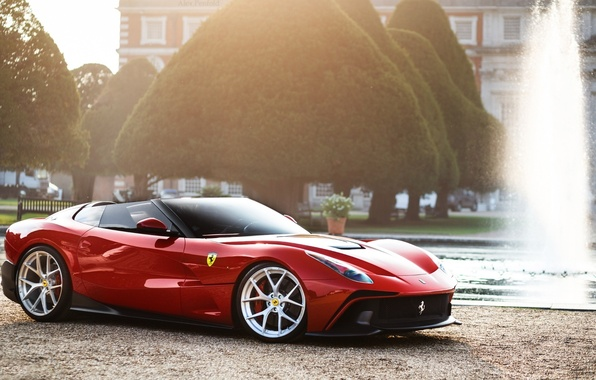 Picture Ferrari, Red, Front, Supercar, F12, Fountain, TRS