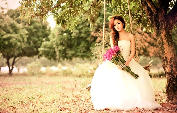 Picture look, flowers, nature, swing, Girl, dress, Asian