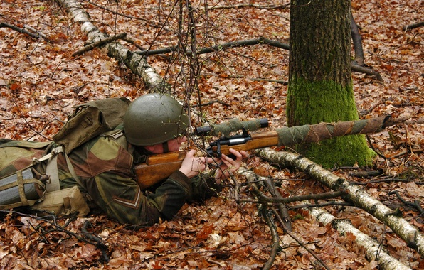 Picture autumn, forest, leaves, soldiers, optics, sniper, helmet, sniper rifle