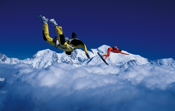 Picture the sky, clouds, snow, mountains, parachute, container, Board, skydivers, extreme sports, parachuting, skysurfing, camera flyer