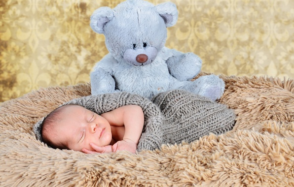 Picture toy, sleep, baby, bear, fur, child