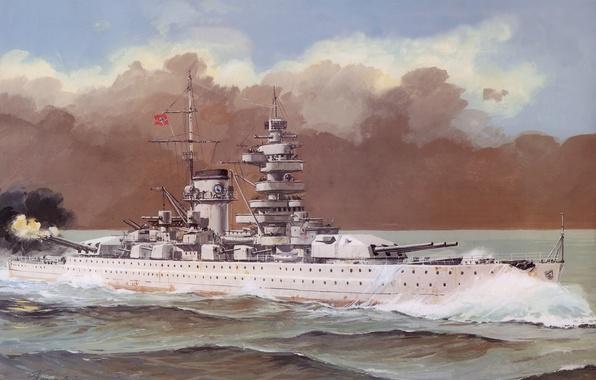 Picture sea, wave, smoke, figure, shot, art, cruiser, German, heavy, The great Patriotic war., Admiral Scheer, …