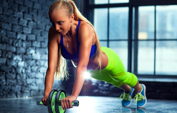 Photo wallpaper blonde, workout, fitness, gym