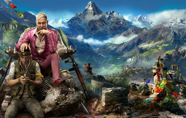Picture The sky, Clouds, Mountains, Look, Snow, Statue, Costume, Weapons, Ubisoft, The situation, Far Cry 4, ...