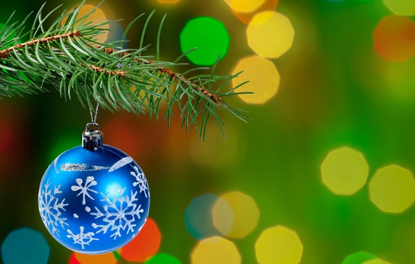 Picture ball, branch, tree, bokeh, Christmas decoration