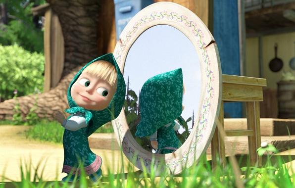 Picture cartoon, mirror, Masha and the bear