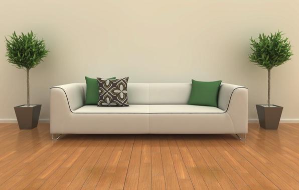 Picture white, design, room, sofa, interior, plants, pillow, green, design, room, interior