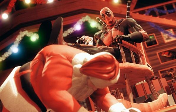 Picture rendering, holiday, costume, villain, Deadpool, Santa, Santa Claus, marvel comics, wade wilson