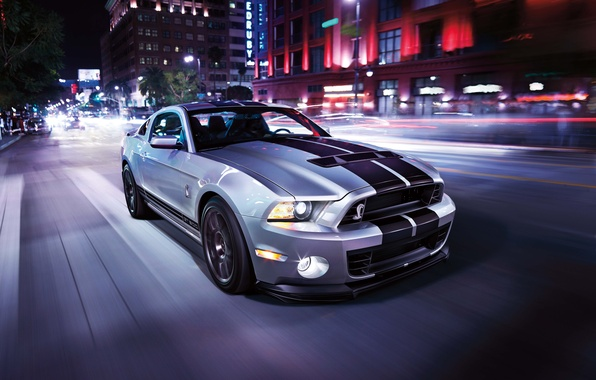 Picture road, car, light, the city, strip, speed, mustang, sports car, ford, shelby, megapolis, gt500