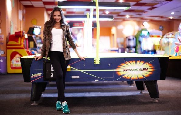 Picture girl, joy, face, game, hair, jacket, legs, Darina, air hockey, slot machines