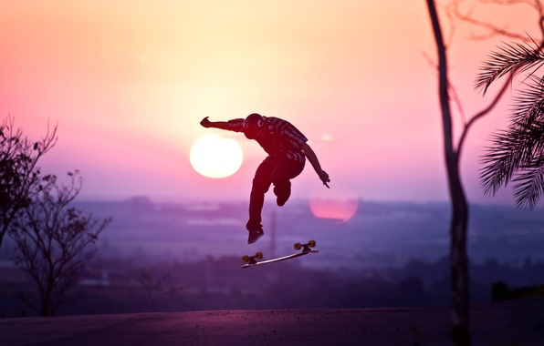 Picture the sun, sunset, jump, helmet, Guy, skateboard