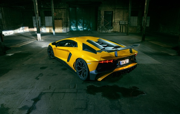 Picture yellow, Lamborghini, supercar, car, back, Aventador, Lamborghini, Novitec, Torado, LP 750-4, Superveloce