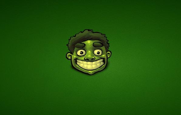 Picture green, minimalism, Hulk, marvel, comic, hulk, joyful