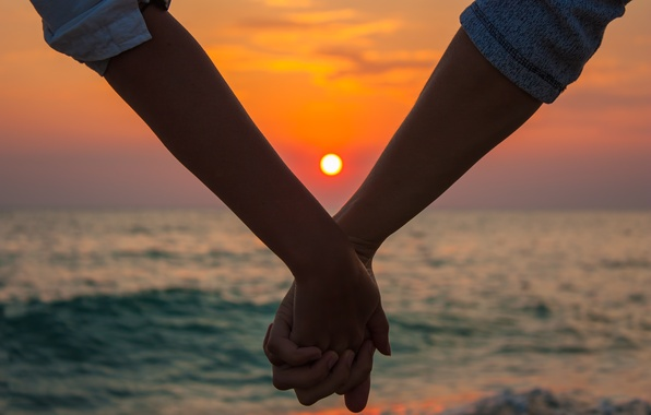 Picture sea, love, sunset, nature, hands