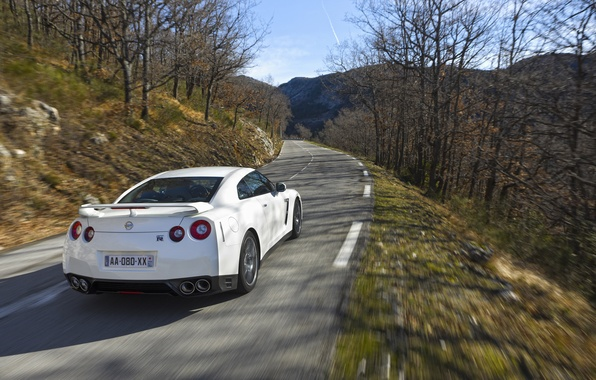 Picture road, machine, auto, forest, trees, nature, Wallpaper, mountain, car, nissan, sports car, rear view, cars, ...
